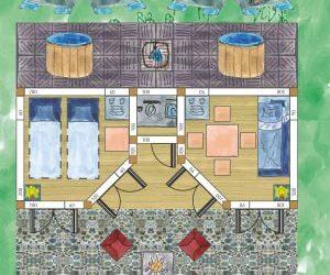 2 Raum Gartenhaus aus zwei 5-Eck-Holzgartenhäusern: Beispielzeichnung