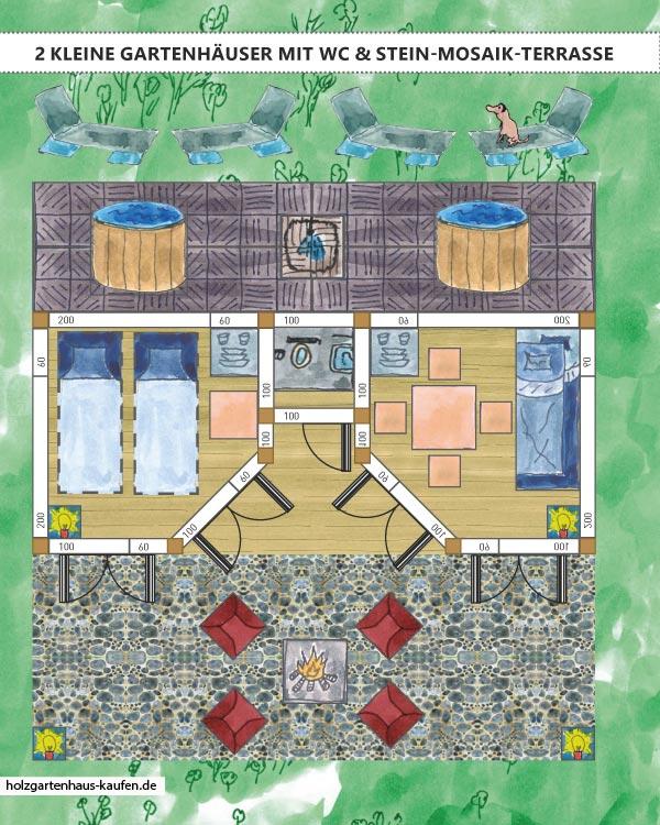 2-Raum-Gartenhaus aus Holz mit Stein Mosaik-Terrasse und Badefass und Feuerstelle
