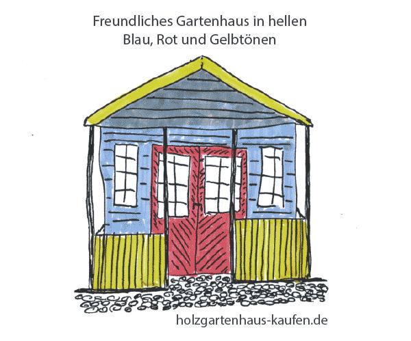 Bunt gestrichenes Holzgartenhaus in Blau, Rot und mit gelber Veranda