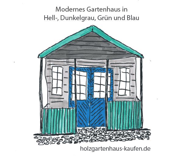 Gartenahus Farbidee mit Hellgrau, Blau und sanftem Grün