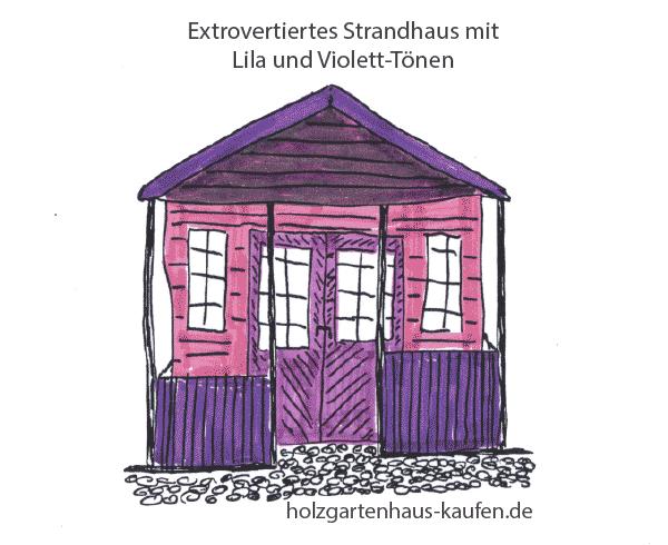 Starke Farben für das Strand-Gartenhaus: Violett und Lila: Intensive Farbgestaltungsidee.