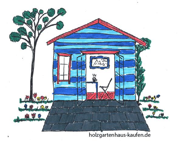 Gartenhaus mit blauen und hellblauen Streifen. und Rote Rahmen zur Farbgestaltung