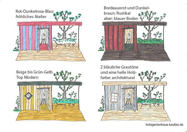 Gartenhaus Farbgestaltung für vertikale Latten mit überdachter Terrasse
