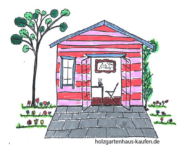 Gartenhaus in Roten und Rosa Streifen und dunkelrotem Holzboden