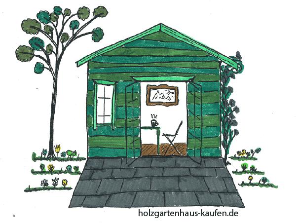Gartenhaus Farbgestaltung in verschiedenen Grüntönen. Besonders gut bei Immergrüner Gartengestaltung