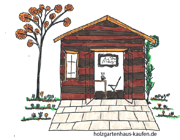 Braune & rote Streifen zur Gartenhausgestaltung (Außenfarbe) mit Orange als Akzentfarbe