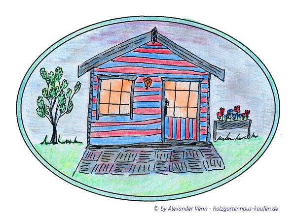 Gartenhaus in Blau und Rot gestrichen mit Hochbeet