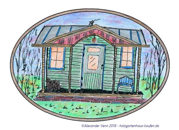 Gartenhaus bunt gestaltet und Grün gestrichen