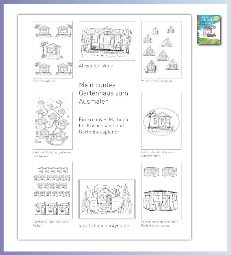 """Gartenhaus planen mit dem Buch """"Mein buntes Gartenhaus zum Ausmalen"""""""