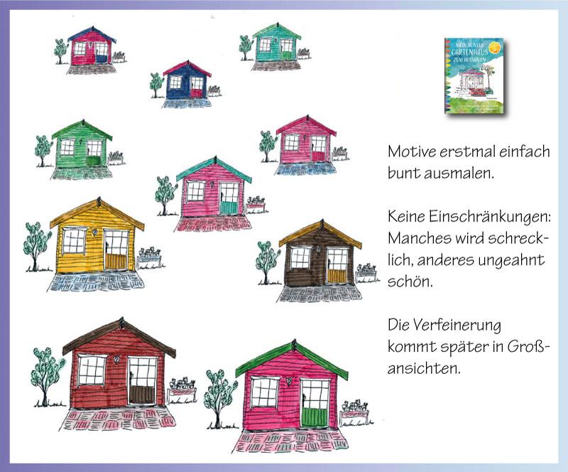 Planungsbuch mit vielen kleinen Gartenhäusern zum farbigen Gestalten