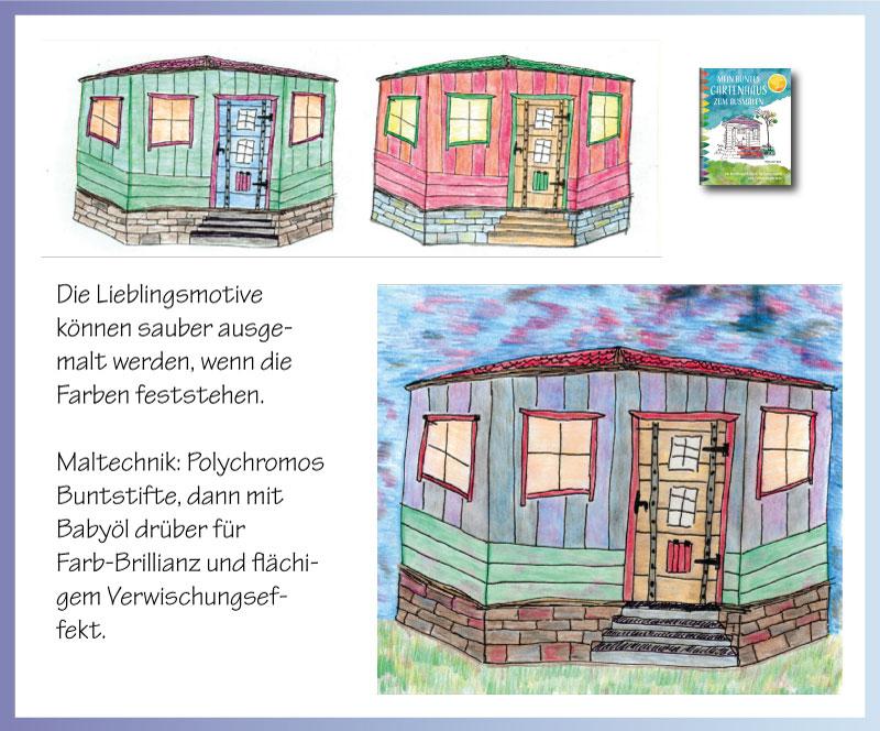 Ausgemalte Skizzen zum Planen des Gartenhauses
