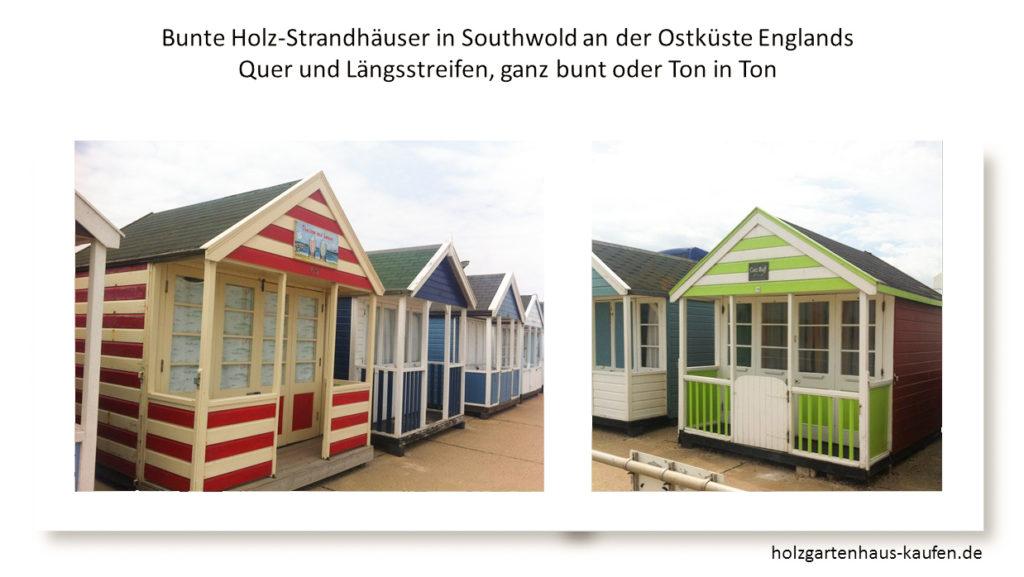 Bunte Gartenhäuser als Strandhäuser in England. 50 in einer Reihe - jedes anders gestrichen.